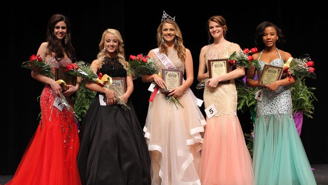 Mary Kate Lott of Purvis, center, was crowned Miss PRCC Wildcat on Jan. 28. With her are, from left, Belle Failla of Picayune, first runner-up, Miss Congeniality and winner of the judges' interview; Sarah Smith of Petal, second runner-up and physical fitness winner; Megan Triplett of Pass Christian, third runner-up; and Keeli Clark of Franklinton, Louisiana, fourth runner-up. Lott also received the presence and composure award.