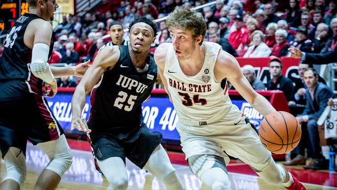 Ball State's Sean Sellers drives against IUPUI at Worthen Arena Saturday, Dec. 2, 2017.