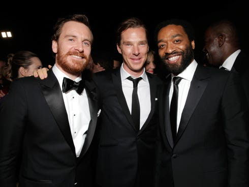 '12 Years a Slave' stars Michael Fassbender, Benedict Cumberbatch and Chiwetel Ejiofor attend the FOX after-party.