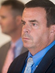 Vermont State Police investigator Jim Cruise answers questions during a news conference Thursday about his work looking into DCF's handling of Peighton Geraw's case.