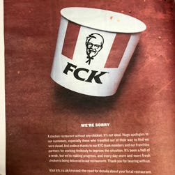KFC offers mea culpa for UK chicken shortage with epic (and witty) apology ad