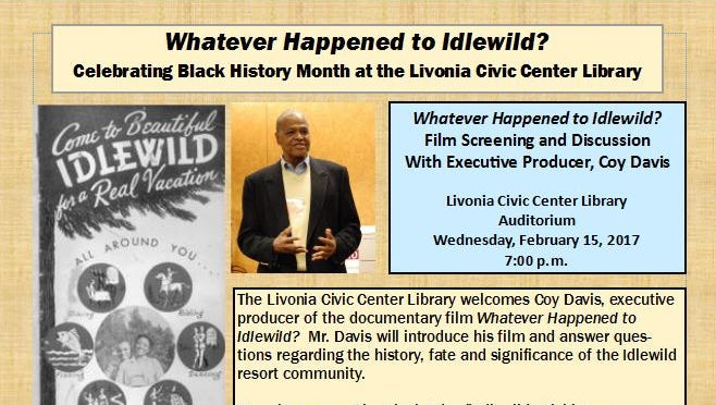 A presentation on Idlewild will take place Feb. 15 at the Livonia library on Five Mile.