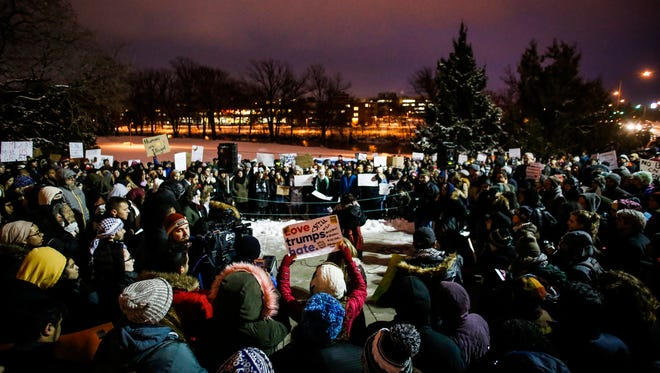 Hundreds gathered at The Rock at MSU Tuesday evening, Jan. 31, 2017, to show their support of refugees, immigrants, and their families impacted by the recent presidential executive order on immigration.