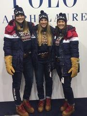 The United States women's luge single's team members are seen here at Olympic team processing in Seoul, South Korea ahead of the 2018 Winter Olympics in Pyeongchang. Pictured from left are Glen Rock's Summer Britcher and teammates Erin Hamlin, center, and Emily Sweeney. FILE PHOTO