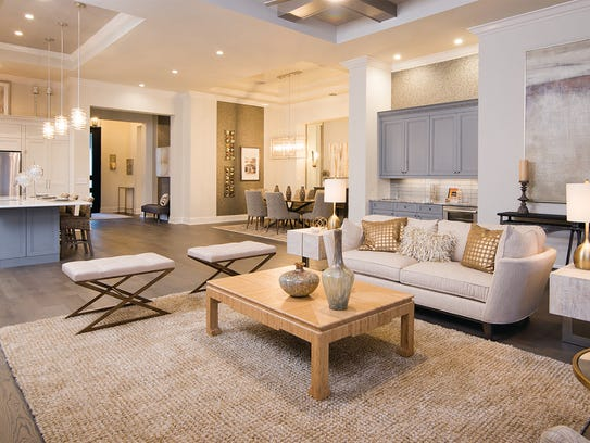 The Avila's great room features a coffered ceiling