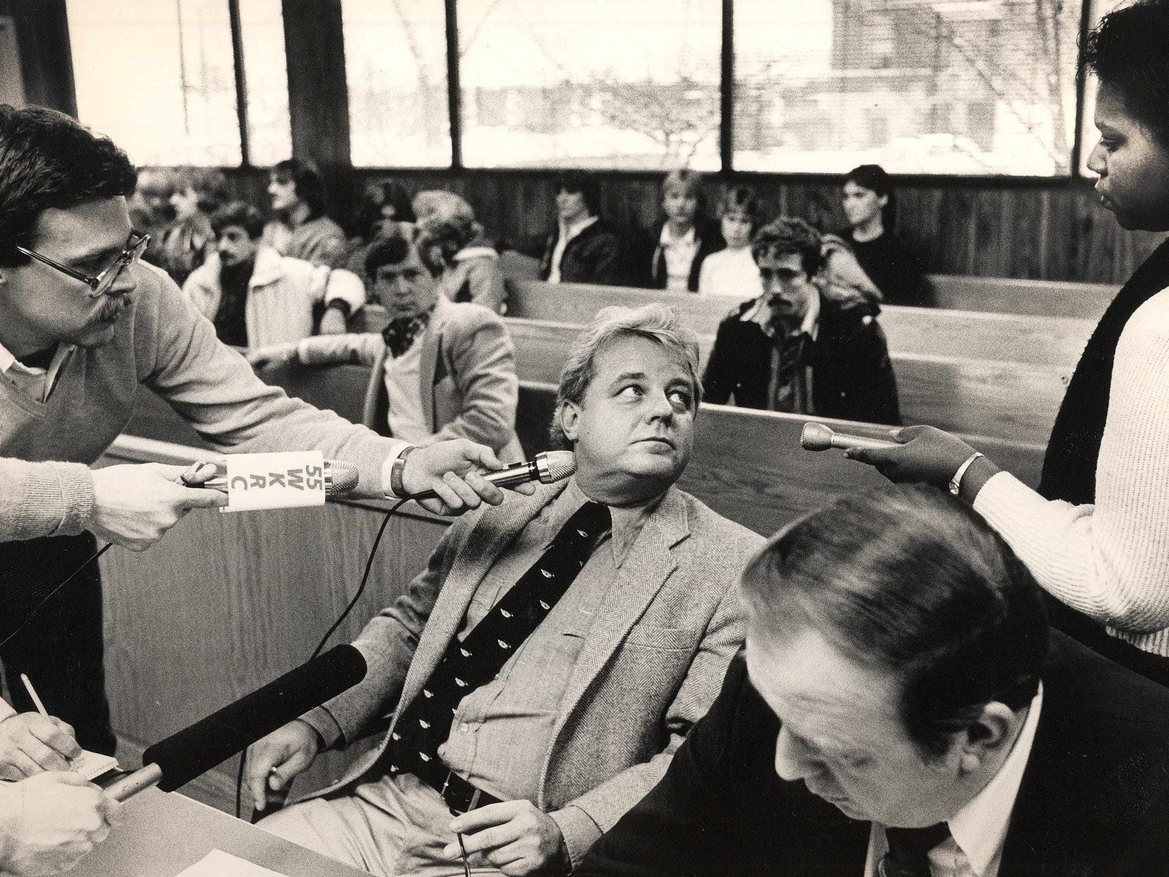 Assistant Campbell County Commonwealth Attorney C. Houston Ebert headed the case against William Virgil in Retha Welch's murder investigation. Here, Ebert answers reporters' questions related to a separate case in 1985. Enquirer file