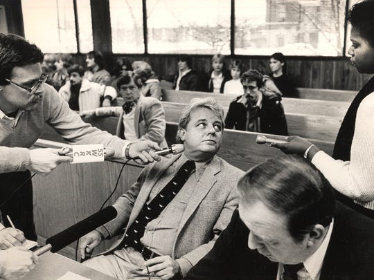 Assistant Campbell County Commonwealth attorney C. Houston Ebert headed the case against William Virgil in Retha Welch's murder investigation. Here, Ebert answers reporters' questions related to a separate case Jan. 1, 1985. The Enquirer/Ed Reinke Scanned 8/28/2017