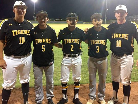 Alamogordo seniors, from left, Thompson Rick, Josh Caraway, Alex Ramirez, Wellington Balsley and Jarod Johnson participated in the North/South All-Star Baseball Classic in Las Cruces.