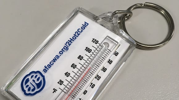 An example of keychain thermometers the Association