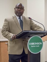Joe Scantlebury, vice president for program strategy at the Battle Creek-based W.K. Kellogg Foundation, during Friday's press conference announcement of Bronson Battle Creek's plans to become a teaching hospital.