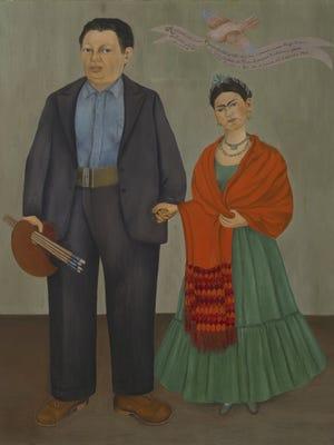 """Frida Kahlo's """"Frida and Diego Rivera,"""" an oil on canvas painted in 1931."""