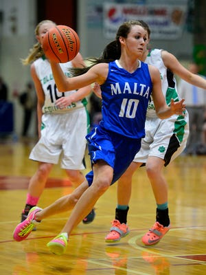 Malta's Sophia Stiles drives to the basket during the recent State B Tournament at Pacific Steel and Recycling Four Seasons Arena in Great Falls.