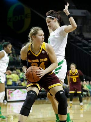 Junior forward Kelsey Moos led No. 8 ASU women's basketball against Oregon on Friday with 17 points and six rebounds.