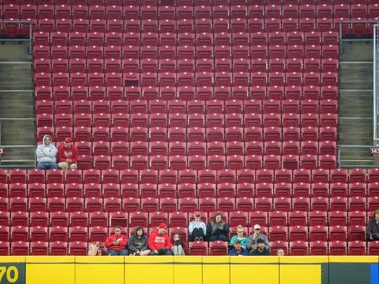 Cincinnati Reds fans watch the game from center field