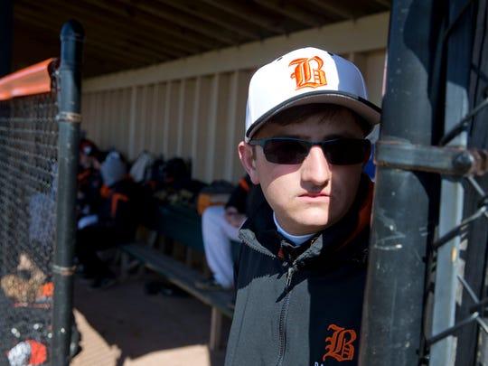 Barnegat vs. Point Pleasant Boro baseball. Barnegat manager Jake Furrule.Barnegat, NJ Tuesday, April 5, 2016@DhoodHood