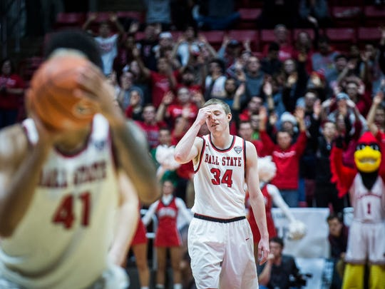 Sean Sellers reacts while Ball State pulls ahead of Eastern Kentucky with free throws during overtime at Worthen Arena Saturday, Dec. 10, 2016.
