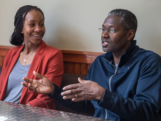 From left, Tamika Catchings and previous shop owner Wayne Ashford talk about Catchings' decision to take over at Tea's Me Cafe on 22nd Street, Indianapolis, Tuesday, March 21, 2017. The former Indiana Fever star, whose family grew up enjoying tea as a household routine, has been going to the shop for years and came to know the owners.