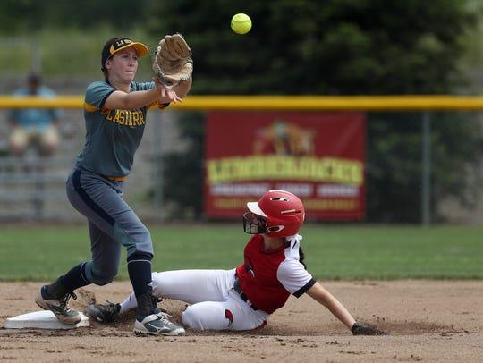 Simpson University softball player Madison Wright slides