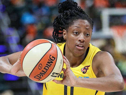 Indiana Fever guard Kelsey Mitchell (0) passes the