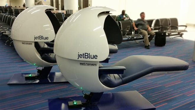 Passengers at JetBlue's Terminal 5 at JFK Airport can recharge in complimentary napping pods.