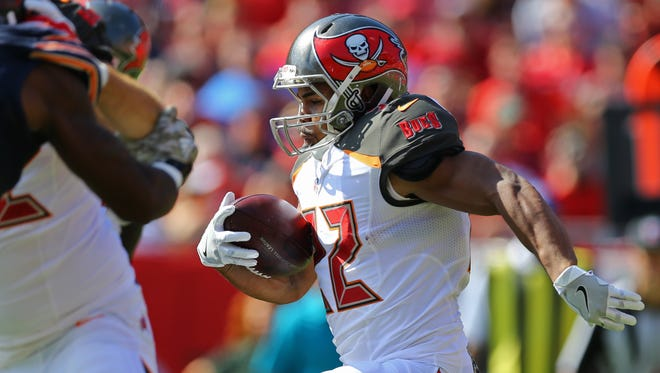 The Buccaneers' Doug Martin had 17 touches Sunday in his first action since Week 2.