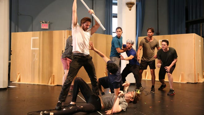 """Rehearsals for The Public Theater's production of """"Troilus and Cressida"""" at The Delacorte Theater in Central Park."""