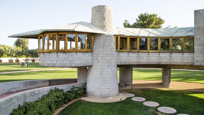 The 2,500-square- foot concrete house was designed by Frank Lloyd Wright and built in 1952.