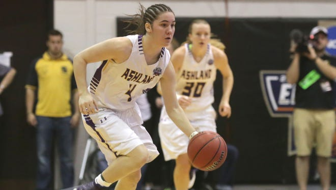 Ashland University's Renee Stimpert played against Virginia Union in the Division II NCAA women's basketball championship in Columbus on March 24.