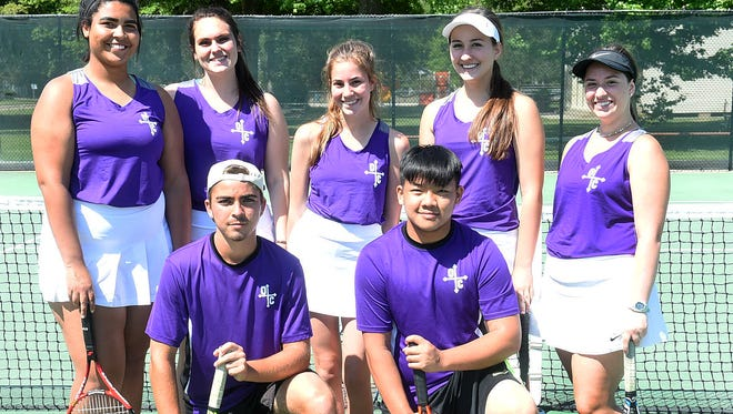 Senior members of the Opelousas Catholic tennis team that participated in the annual Opelousas High tennis tournament on Friday and Saturday at South City Park include Richard Hollier, Anthony Trien, Connor Miller and Tristin Smith. On the back row are Olivia Spearer, Kellie Meche, Caroline Chachere and Maddie Cannatella.