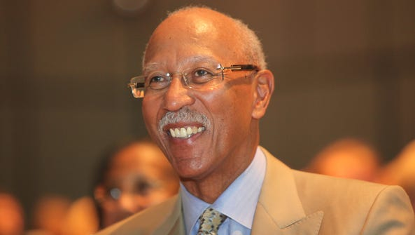 Detroit Mayor Dave Bing smiles during the Shining Light