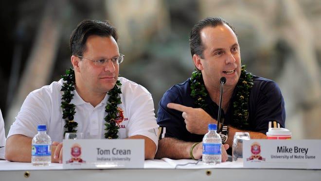 FILE – Notre Dame coach Mike Brey and Indiana coach Tom Crean will face off again Saturday,