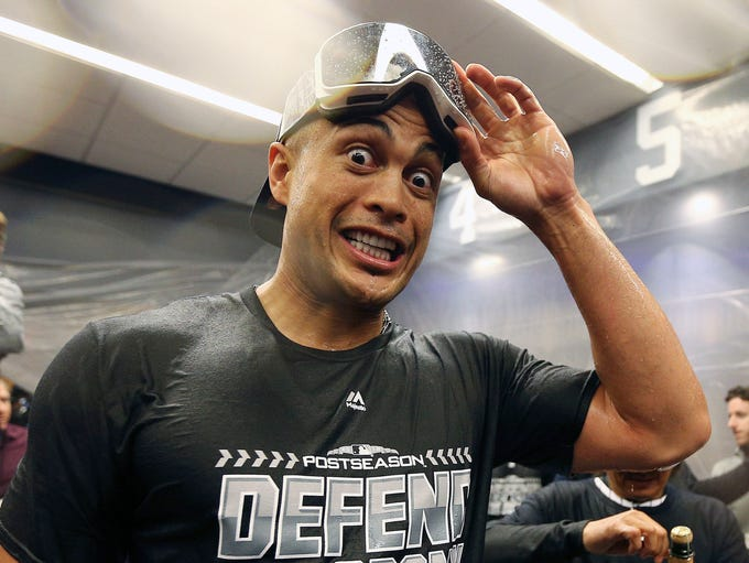 Sept. 22: Giancarlo Stanton celebrates after the Yankees