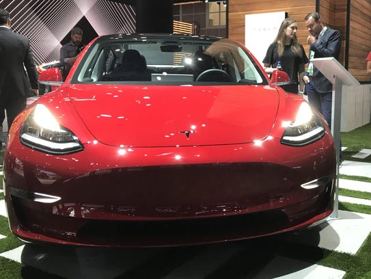 A Tesla Model X on display at the 2017 LA Auto Show