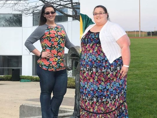 Brittany May in the present day (left) and before she