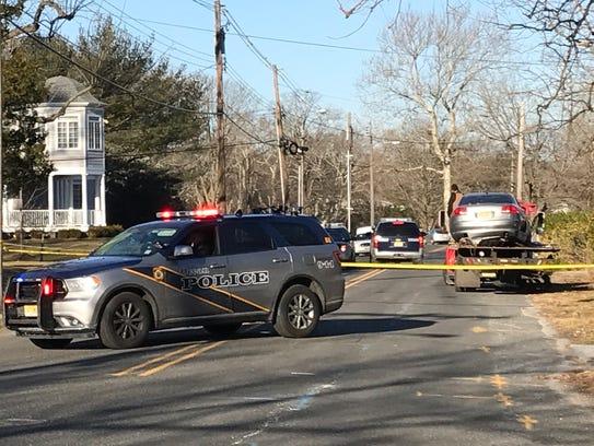 Ocean Township guard a crash scene in the 200 block