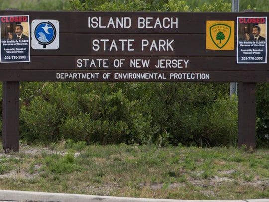 The entrance to Island Beach State Park in New Jersey