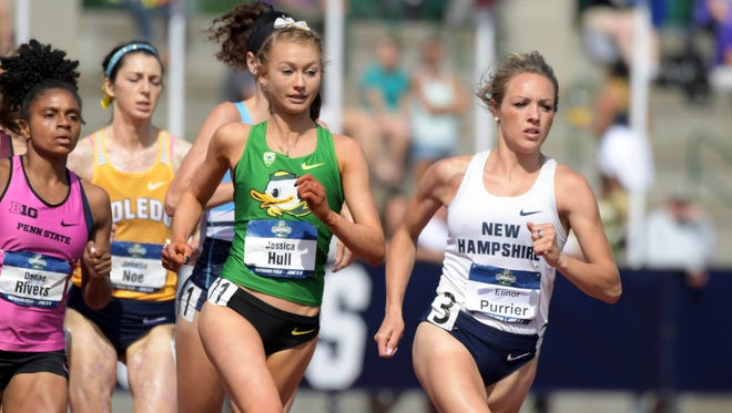 Jun 7, 2018; Eugene, OR, USA; Elinor Purrier of New Hampshire and Jessica Hull of Oregon lead a women's 1,500m heat during the NCAA Track and Field championships at Hayward Field. Mandatory Credit: Kirby Lee-USA TODAY Sports