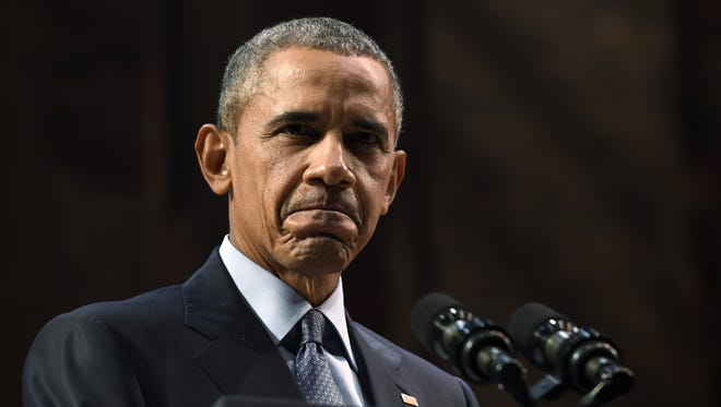 President Obama speaks at the Richard Rodgers Theatre in New York Monday.