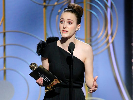 Rachel Brosnahan accepts her Golden Globe for best actress in a comedy series or musical for her role in 'The Marvelous Mrs. Maisel.'