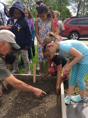 Second-graders, from top left to right, Jordan Dukish, Midestine Sturghill, and Julissa Sanchez look on as the Riverside gardener, Bill Behnke, shows Isabella Nett, kneeling, and Willow Ott where to place the seeds as they plant Riverside Elementary School's community garden.