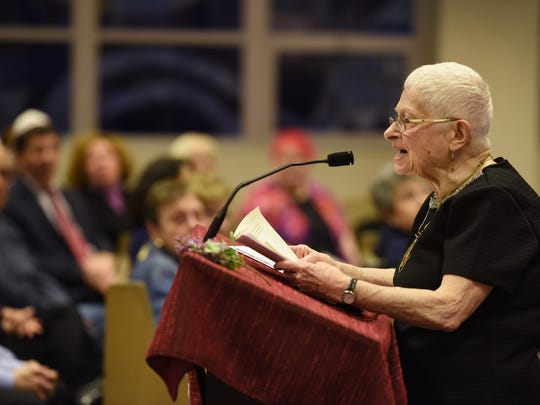 Holocaust survivor Agnes (Bracha) Adler (age 86), of Westwood, speaks about her ordeal during the Holocaust Remembrance Day at Temple Emanuel of the Pascack Valley in Woodcliff Lake, photographed on April 23rd, 2017.