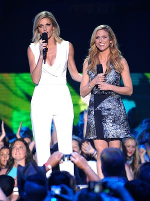 Erin Andrews, left, and Brittany Snow were hosts of the 2015 CMT Music Awards on June 10 in Nashville.