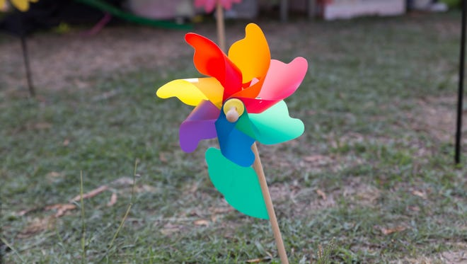 """""""The pinwheel is a reminder that we all play a role in the future of our children,"""" said Kristen Rector, executive director of Prevent Child Abuse Tennessee."""