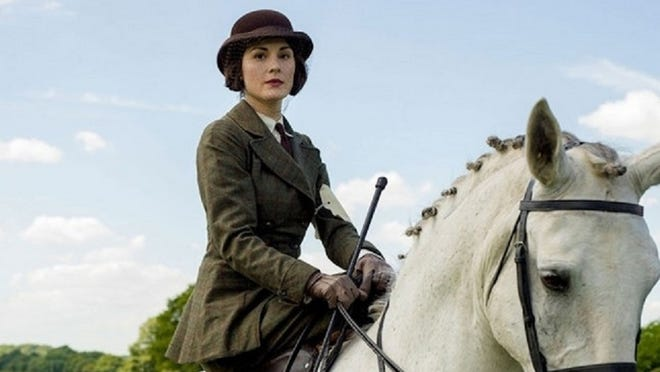 """Lady Mary (Michelle Dockery) rides sidesaddle in the point-to-point race on """"Downton Abbey."""""""