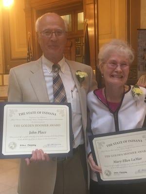 Golden Hoosier Award recipients John Place and Mary Ellen LaMar.
