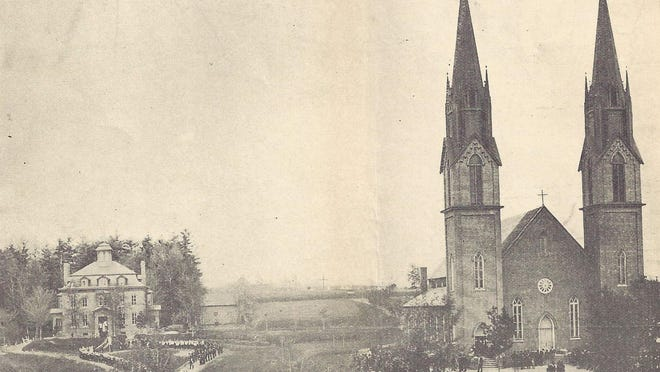 Parish Procession around St. Francis Xavier Church and rectory on St. Peter Street honoring Bishop Louis DeGoebriand's visit in 1892.
