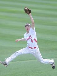 Albany shortstop Brian Hamilton makes a leaping grab