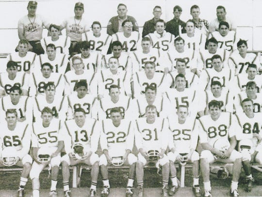 Team photo of the 1966 Bloomfield Bobcats' football team. Front row, from left: Roy Weyant, Gary Smouse, Kenny Palmer, Steve Beloat, LeRoy Dugger, John Sategna, John Cometti and Grady Hampton. Second row: Marvin Stock, Allen Corder, Leonard Raymond, Jesse Evans, Rodney Litke, Tommy Palmer, Merle Dennis and Don Tharp. Third row: Lester Green, D. Archuleta, Jim McGee, Phillip Satenga, John McSmith, Jerry Knutson, Bobby Mize and Roger Loftis. Fourth row: William Richmond, L. Jones, Henry Vigil, C. Armenta, Fred Steck, John Johnston, Irvin Raymond and Anthony Gomez. Fifth row: John Estlack, Robert Chavez, Terrence Archunde, Lyle Guffey, Randy Pearson and Bennie Armenta. Back row: Marvin McSmith, John Gutierrez, R. McCullough, Dean Stowell, D. Hare, Ricky Palmer and John Salvo.