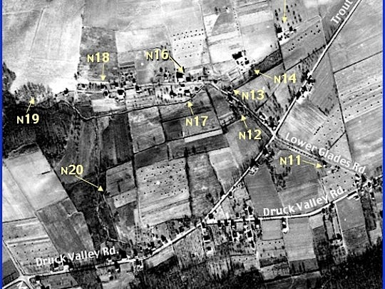 Enlarged View of Penn Pilot Aerial Photo, from Nov. 25, 1937, in Lower Glades Area within Springettsbury Township (Annotations by S. H. Smith, 2015)