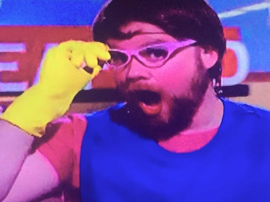 """Kip Poole, culinary arts teacher at William Penn High School, seemed to enjoy his experience dressed as a """"lunch lady"""" on """"Guy's Grocery Games."""""""